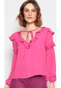 Blusa Lisa Com Babado - Pink - Chocoleitechocoleite