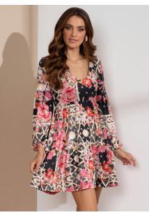 Vestido Curto Floral Arabesco Com Franzidos