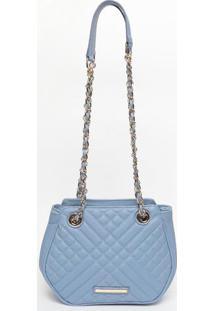 Bolsa Em Couro Matelass㪠- Azul Claro- 18X22X7Cmjorge Bischoff