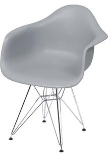 Cadeira Eames Com Braco Base Cromada Cinza Fosco - 43635 - Sun House