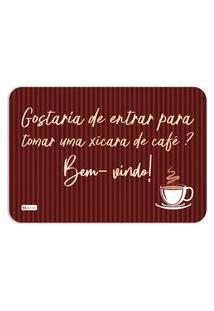 Tapete Decorativo Frase Café Bem Vindo Listras Marrom 40X60Cm