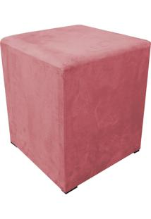 Puff Decorativo Dado Quadrado Suede Rose - D'Rossi
