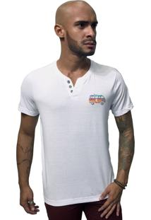 Camiseta Joss Lavada Botão Kombi Branca
