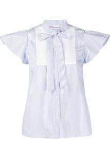 Redvalentino Striped Cap Sleeves Blouse - Azul