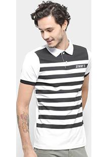 Camisa Polo Jimmy'Z Listrada Masculina - Masculino-Preto