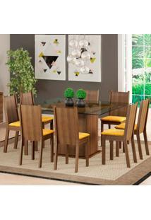 Conjunto De Mesa Com 8 Cadeiras Camila Rustic E Palha