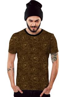 Camiseta Di Nuevo Marrom Com Linhas De Flores Douradas 2019