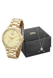 Kit De Relógio Analógico Mondaine Feminino + Brinco + Colar - 99128Lpmkde7K3 Dourado