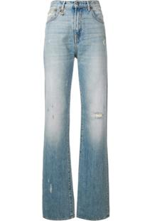 R13 Flared Distressed Jeans - Azul