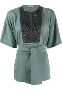Brunello Cucinelli Blusa Com Amarração Na Cintura - Verde