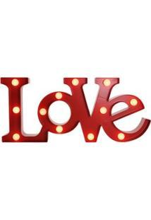 Luminária Love Com Leds Vermelho 48X22Cm