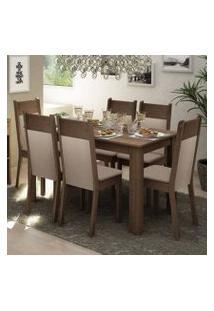 Conjunto Sala De Jantar Madesa Jaíne Mesa Tampo De Madeira Com 6 Cadeiras Rustic/Crema/Pérola