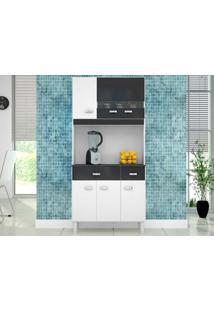 Cozinha Com 6 Portas Manu Branco/Preto - Lc Móveis