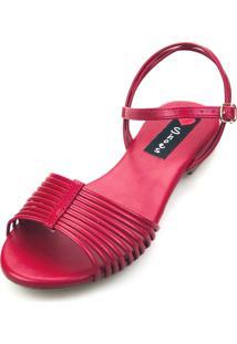 Sandália Rasteira Love Shoes Tiras Nó Vermelha