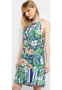 Vestido Curto Mercatto Estampa Tropical Amarração - Feminino-Azul