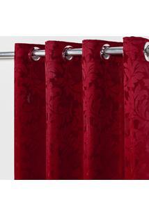Cortina Em Tecido Jacquard 4,00 M X 2,70 M - Vermelho - Multicolorido - Dafiti
