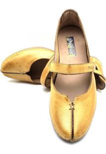 Sapatilha Feminina Drilean Em Couro Com Palmilha Em Gel - Velcro Amarelo
