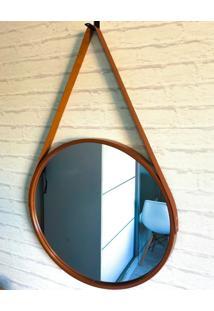 Espelho Decorativo Redondo Marrom/Bronze Com Alça