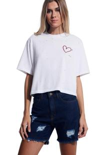 Camiseta John John Love Malha Off White Feminina (Off White, G)