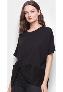 Camiseta Colcci Básica Assimétrica Feminina - Feminino-Preto