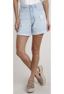 Bermuda Jeans Feminina Midi Cintura Alta Com Barra Dobrada Azul Claro