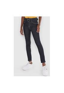 Calça Jeans Sawary Skinny Pespontos Azul-Marinho