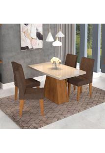 Conjunto De Mesa De Jantar Retangular Helen Com 4 Cadeiras Milena Suede Cacau E Off White