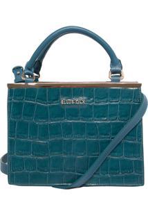 Bolsa Ellus Handbag Croco Metal Azul