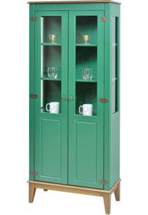Cristaleira Laura 2 Portas Cor Verde Com Amendoa 180 Cm - 63392 - Sun House