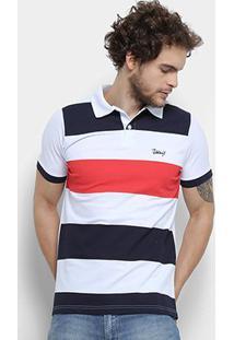 Camisa Polo Jimmy'Z Básica Rapport Masculina - Masculino-Vermelho+Branco