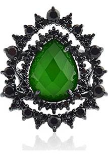 Anel Prata Quartzo Verde E Espinélios
