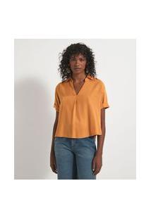 Camisa Manga Curta Com Abotoamento Nas Costas | Marfinno | Amarelo | P
