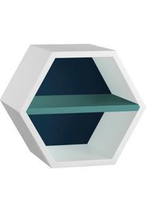 Nicho Hexagonal Favo Ii Com Prateleira Branco Com Azul Noite E Azul Claro