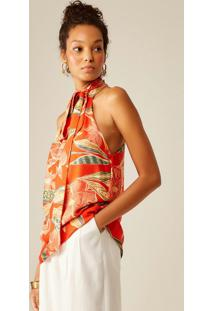Blusa De Viscose Com Estampa Floral Loren Laranja