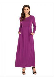 Vestido Longo Manga Longa - Violeta Xgg