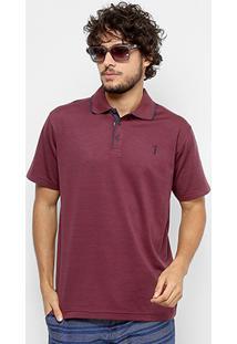 Camisa Polo Aleatory Diferenciada Jacquard Masculina - Masculino-Bordô