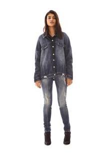 Jaqueta Alongada Com Botao Jeans