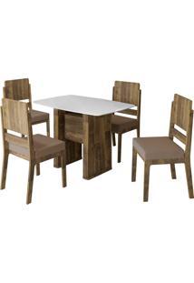Conjunto De Mesa De Jantar Europa Amadeirado 1,20X0,80 C/ 4 Cadeiras Esmeralda Rv Mã³Veis Branco/Marrom - Marrom - Dafiti