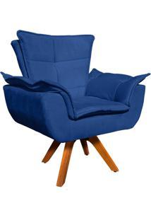 Poltrona D'Rossi Decorativa Giratã³Ria Gran Opala Base Madeira Suede Azul Royal - Azul - Dafiti