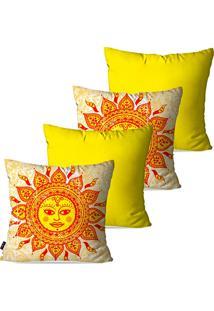 Kit Com 4 Capas Para Almofadas Pump Up Decorativas Amarelo Sol De Maio 45X45Cm