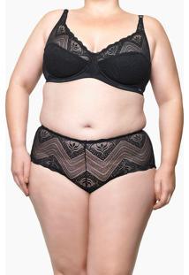 Calcinha De Renda Plus Size Tanga Black Marmaris Preta Underwear Calvin Klein - 2Xl