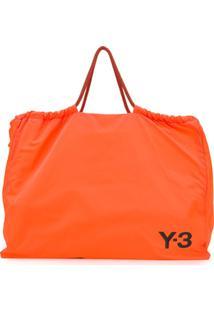 Y-3 Bolsa Tote Oversized Com Estampa De Logo - Laranja
