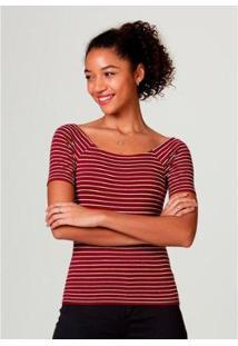 Blusa Básica Hering Em Malha De Algodão Com Decote Canoa Feminina - Feminino-Vermelho