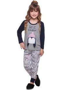Pijama Longo Luna Cuore 1132 Feminino - Feminino-Cinza
