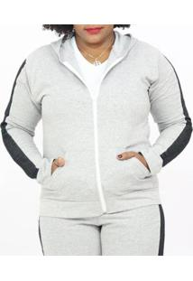 Jaqueta Sangos Moletom Plus Size Flanelada Feminina - Unissex-Cinza