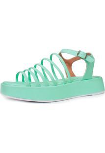 Sandália Plataforma Damannu Shoes Doris Verde Menta