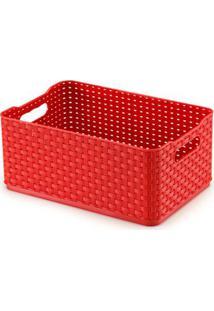 Caixa Organizadora 4,5L Vermelho Rattan 03 Arthi