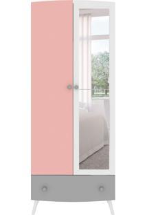 Guarda-Roupa Infantil Com Espelho Ternura 2 Pt 1 Gv Branco E Rosa
