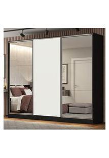 Guarda Roupa Casal 100% Mdf Madesa Royale 3 Portas De Correr Com Espelhos Preto/Branco Branco