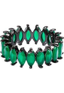 Anel Aliança Navetes The Ring Boutique Pedras Cristais Verde Esmeralda Ródio Negro
